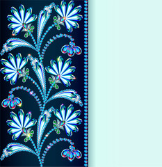 vintage background with flowers made of precious stones and stri