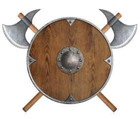 old wooden vikings' shield and two crossed axes isolated