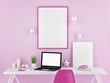 Office mock up, pink background, 3d illustration