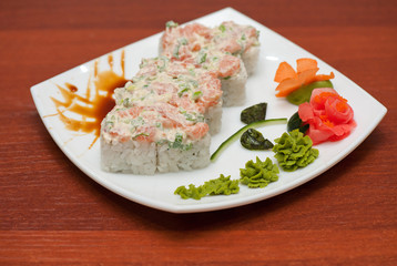 Roll with cream sauce, salmon fish