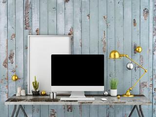 Work space mock up, 3d illustration