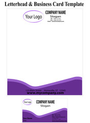 Business Card and Letter Head Template - Purple Waves