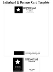 Business Card and Letter Head Template - Black & White with Star