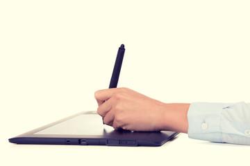 graphic designer hand using digital tablet pen computer