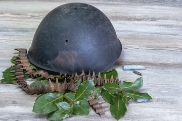 Helmet, war, bullets, laurel,  Cross of War, military