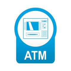 Etiqueta app abajo azul redonda ATM