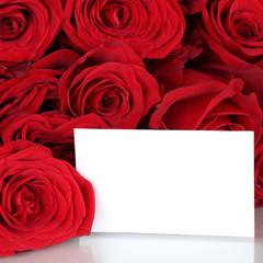 Rote Rosen zum Valentinstag oder Muttertag mit leerem Schild und