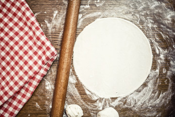 Perfect pizza dough with fresh, bio ingredients and flour