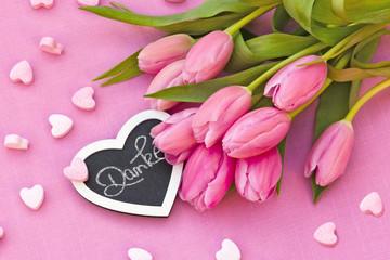 rosa Tulpen, Danke