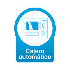 Etiqueta app abajo azul redonda Cajero automatico