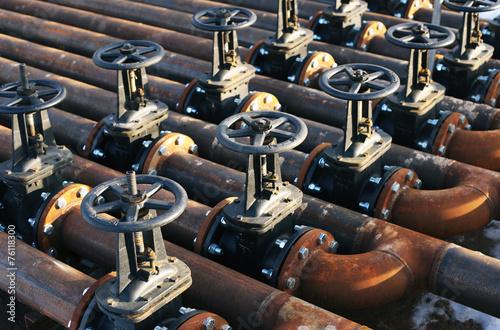 Leinwanddruck Bild Oil and gas pipe line valves
