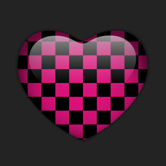 alentines Day Glossy Emo Heart. Pink and Black Checkers