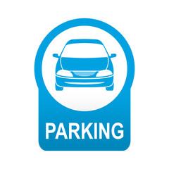 Etiqueta app abajo azul redonda PARKING automovil