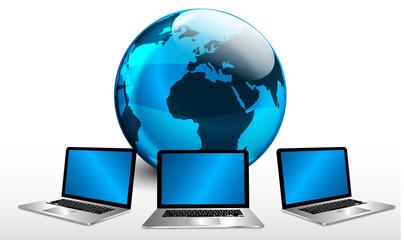rete, internet, notebook, computer, pianeta, mondo