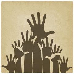 hands up symbol old background