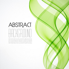 Abstract transparent green wave background