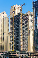 Skyscrapers under construction at Dubai Marina