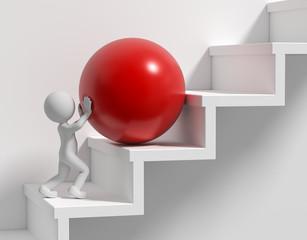 3d Männchen Stufen und rote Kugel