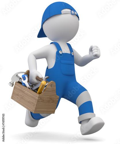 Leinwanddruck Bild 3d Männchen Handwerker in Eile