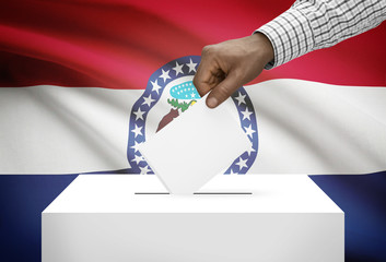 Ballot box with US state flag on background - Missouri