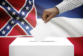 Ballot box with US state flag on background - Mississippi