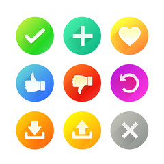 Set of Colorful Icons for Web Site