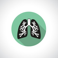 Lungs, round icon.