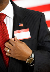 Politician: Wearing an Introduction Nametag