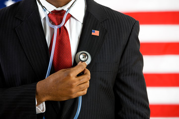 Politician: Holding a Stethoscope Medical Concept