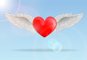 Red flaying heart with wings