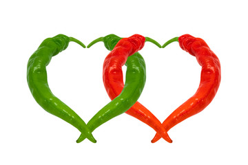 Red and green chili peppers in love