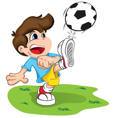 Character child kicking a ball