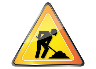 Panneau orange avertisseur chantier