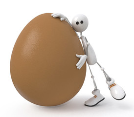 white little man with egg