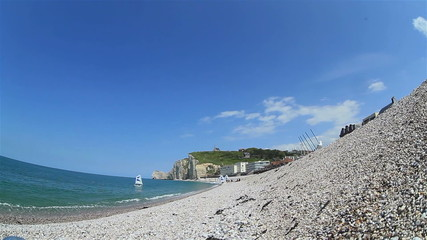Beautiful view from the shingle beach to the church