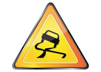 Panneau orange signalisation verglas