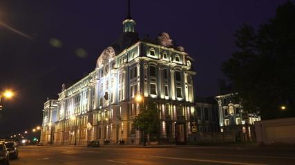 Nakhimov naval school in St. Petersburg. Night. 4K.