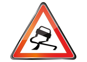 Panneau rouge signalisation verglas