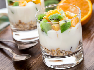 Yogurt with muesli and fruits