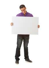 Man Looks Down At Blank Sign