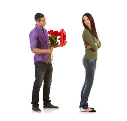 Valentine: Woman Angry At Man With Candy And Flowers