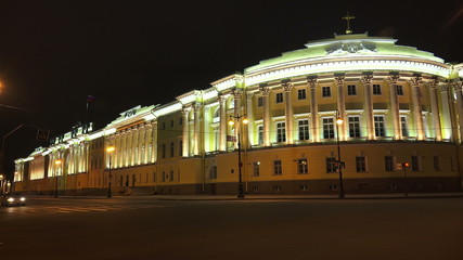 Senate and the Synod in St. Petersburg. Night.4K.