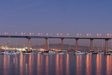 Coronado bridge to Coronado island at sunset
