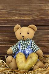 Teddy mit herzförmiger Kartoffel