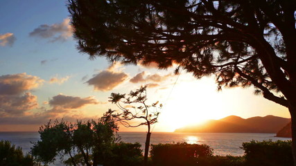 Sunset on the Liguriysky coast, Italy