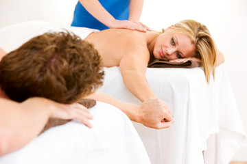 Massage: Holding Hands During a Couples Massage