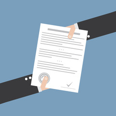 Vector business contract - analyzing document - concept