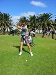 Golfer auf Golfplatz Kanaren