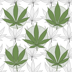 Marijuana badges with marijuana leaves background.