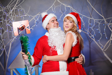 sexy Santa and elf girl